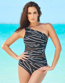 Miraclesuit Chain Reaction Jena Swimsuit - Black/White