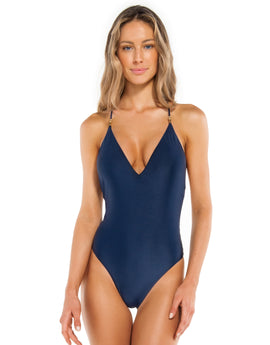 ViX Solid Lucy Brazilian Swimsuit - Navy