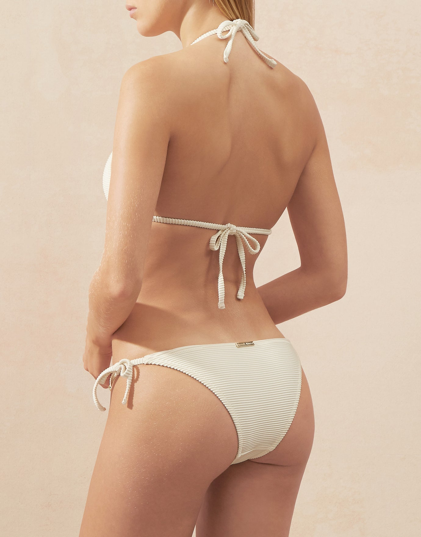 Heidi Klein Cote D'Azur Rope Tie Side Bikini Bottom - Cream