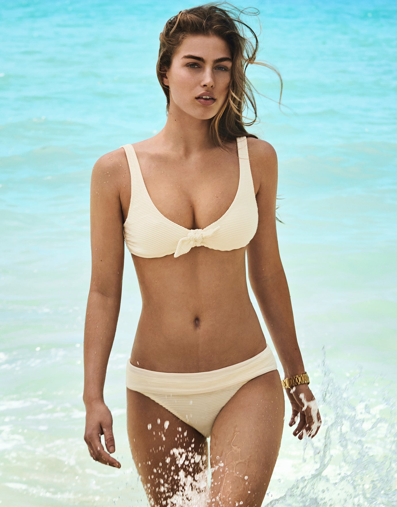 Heidi Klein Cote D'Azur Fold Over Bikini Bottom - Cream
