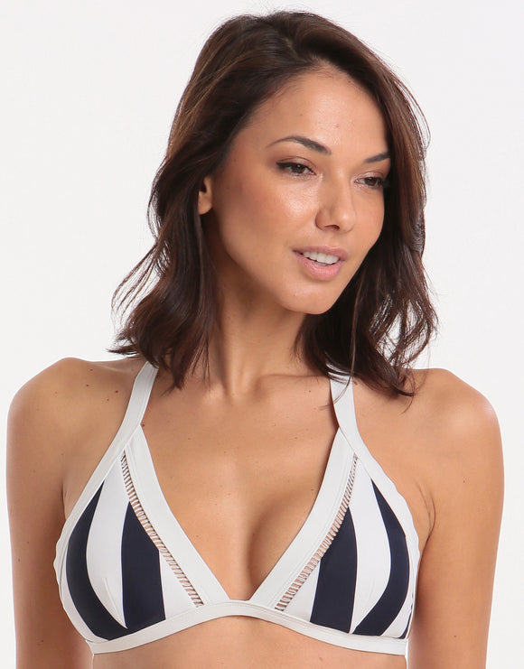 Ted Baker Nautical Vertical Stripe Triangle Bikini Top - Navy/White