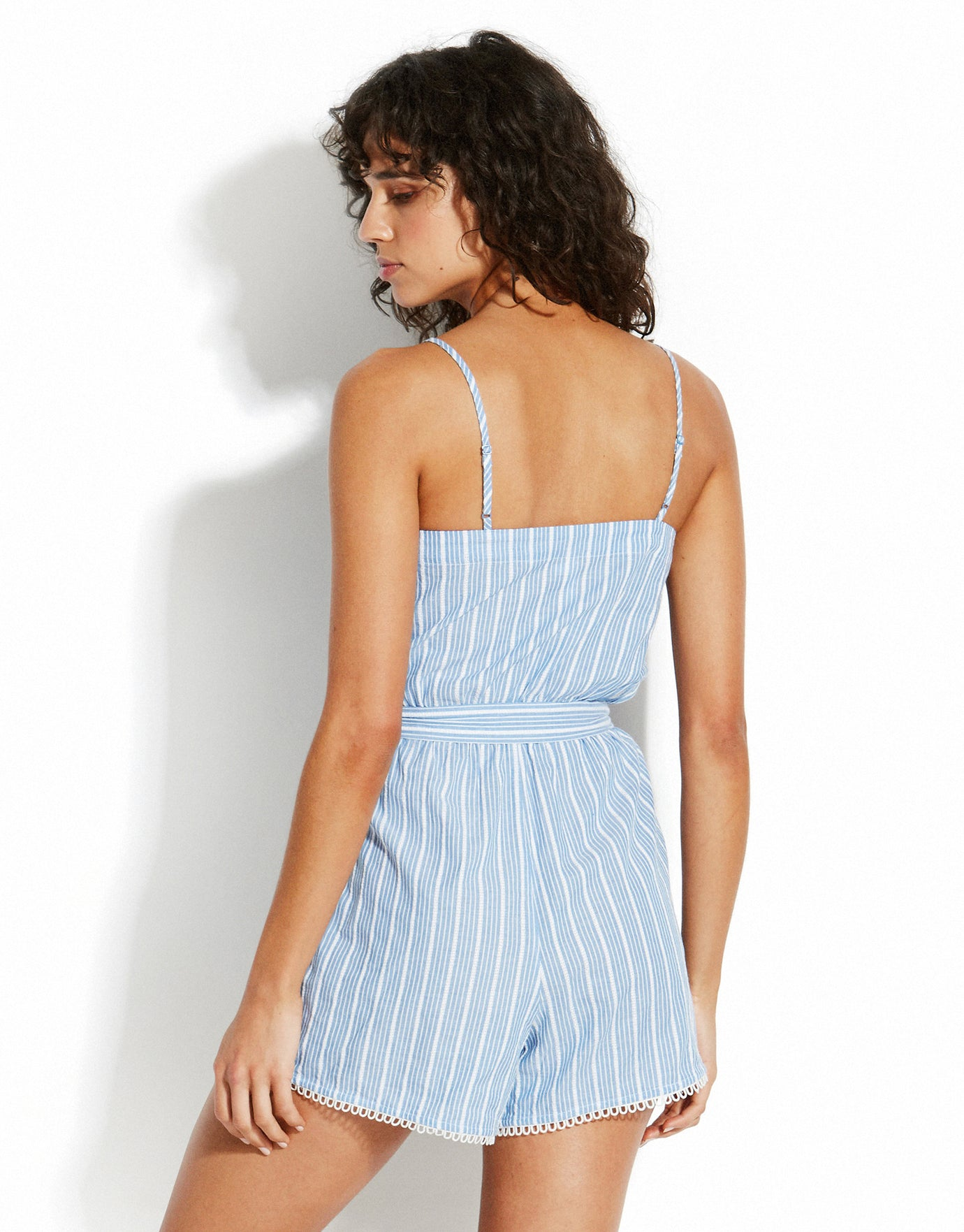 Seafolly Sea Stripe Loop Trim Stripe Playsuit - Chambray