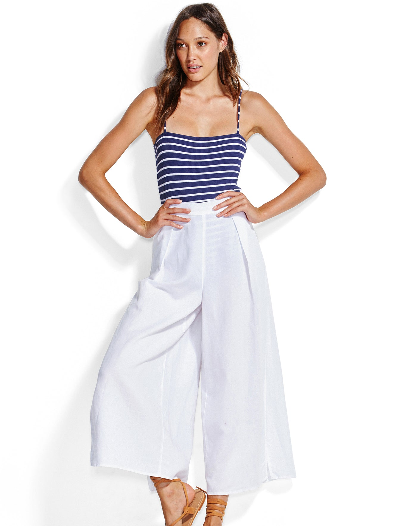 Seafolly Linen Blend Split Beach Trousers - White
