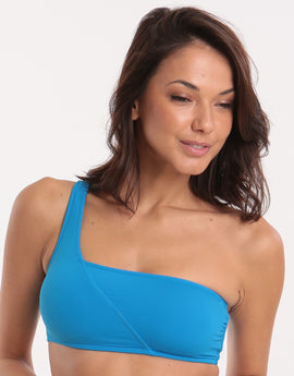 Seafolly Active One Shoulder Bandeau Bikini Top - Electric Blue
