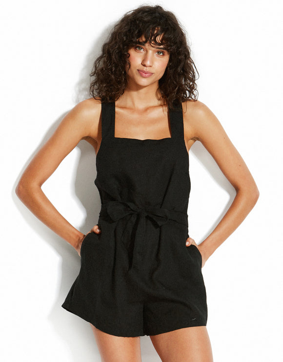 Seafolly Linen Romper Playsuit - Black