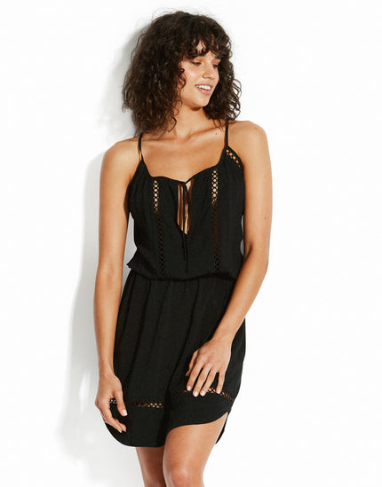 Seafolly Lace Insert Halter Dress - Black