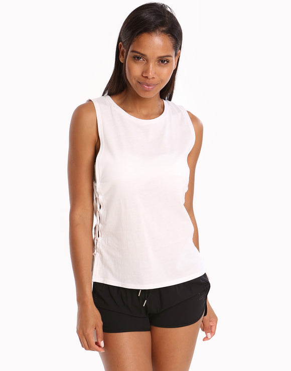 Seafolly Active Lace Up Singlet Top - White
