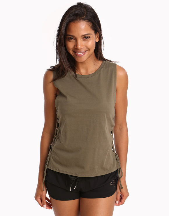 Seafolly Active Lace Up Singlet Top - Dark Olive