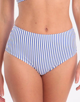Freya Totally Stripe High Waist Bikini Bottom- Cobalt