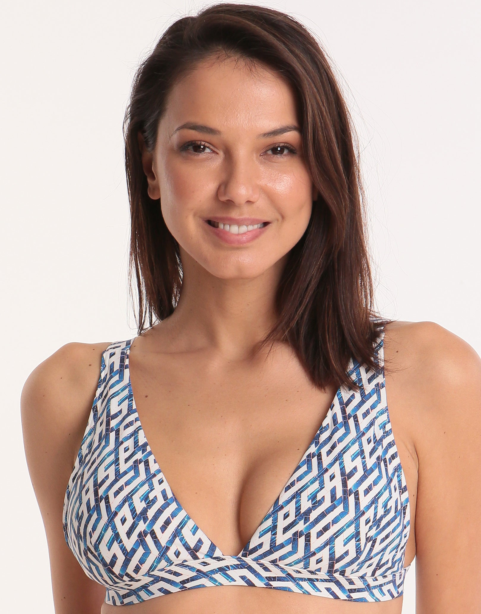 98d86c6d1fe16 Moontide Mosaic Long Line Tri Bikini Top - Navy