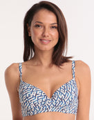 Moontide Mosaic D Cup Underwired Wrap Bikini Top - Navy