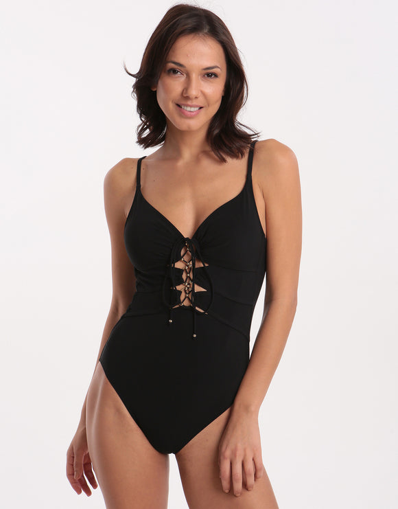 Gottex Desire Deep Plunge Swimsuit - Black