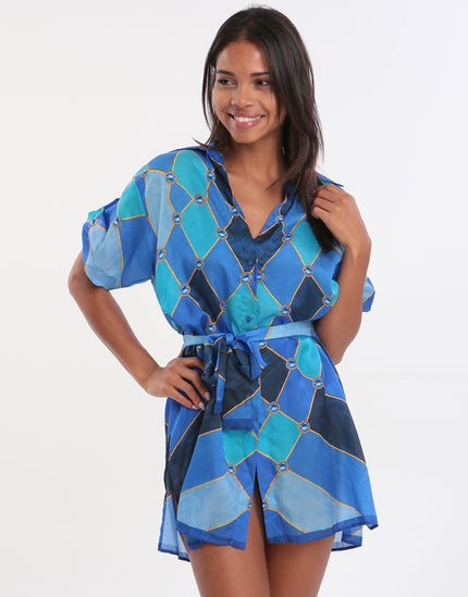 Gottex Mystic Gem Blouse Dress - Multi Blue