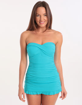 Gottex Profile Tutti Frutti Skirted Bandeau Swimsuit - Aqua