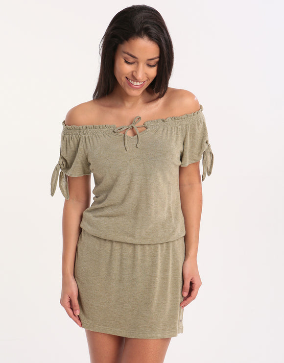 Banana Moon Tamira Forever Off The Shoulder Dress - Khaki