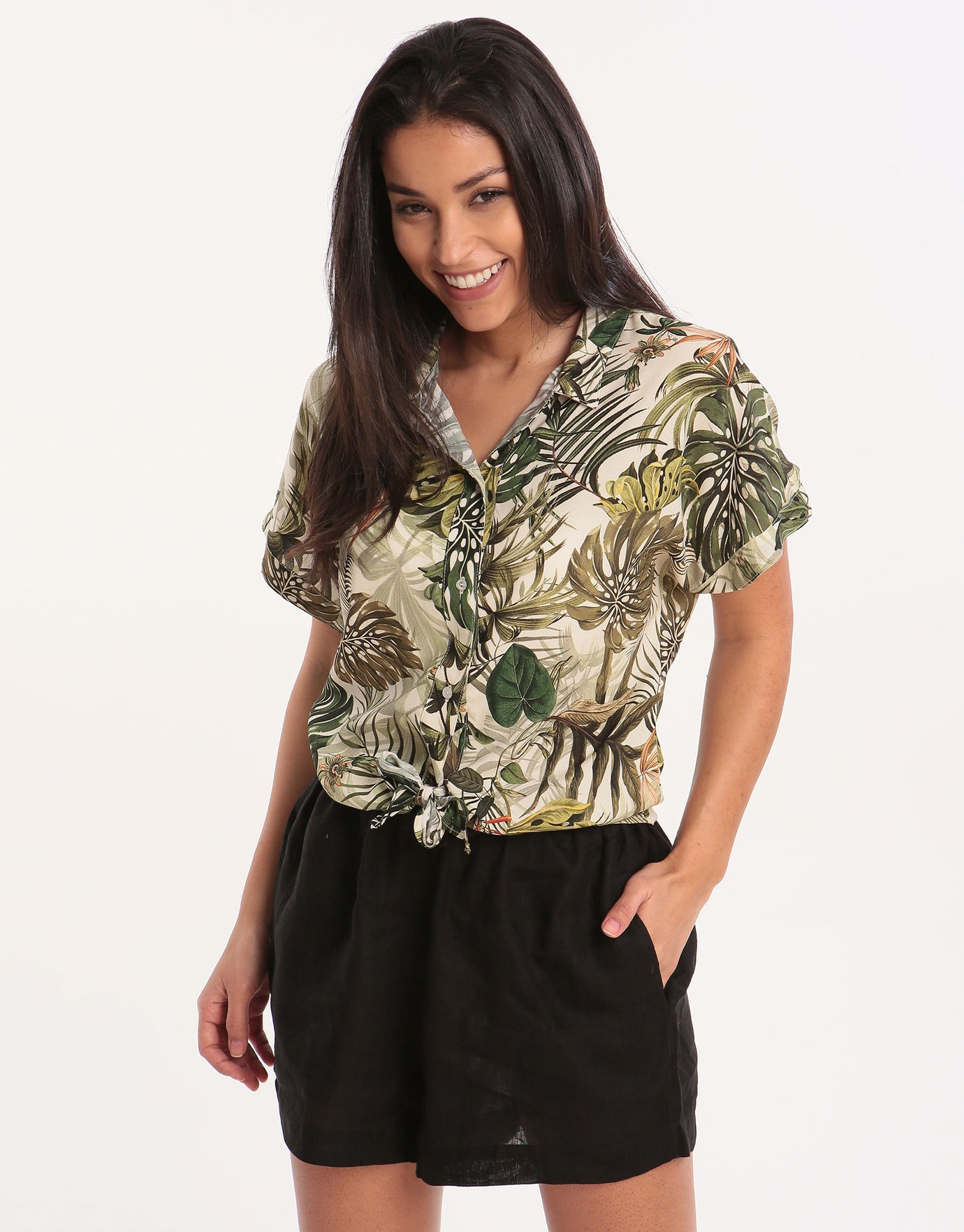 Banana Moon Frezia Malika Tie Front Shirt - Natural