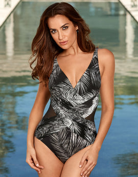 fd7c7fa747d Miraclesuit Night Flight Crossover Swimsuit - Black White
