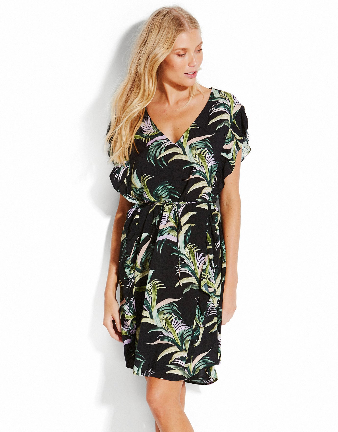 Seafolly Las Palmas Ruffled Kaftan - Black