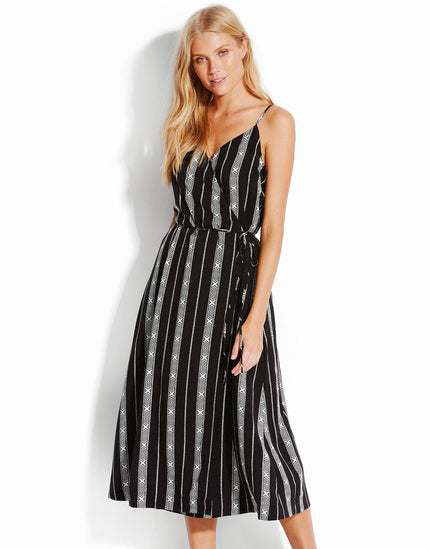 Seafolly Las Palmas Lattice Stripe Wrap Dress - Black