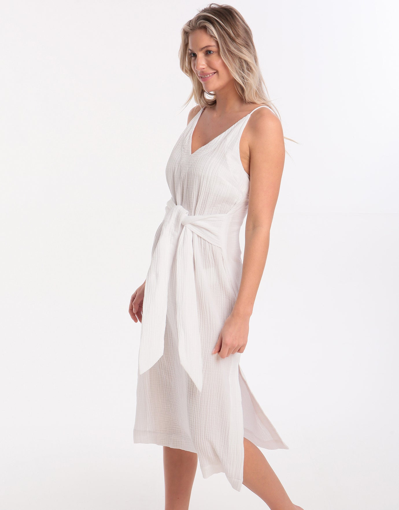 Seafolly Tie Front Slip Dress - White
