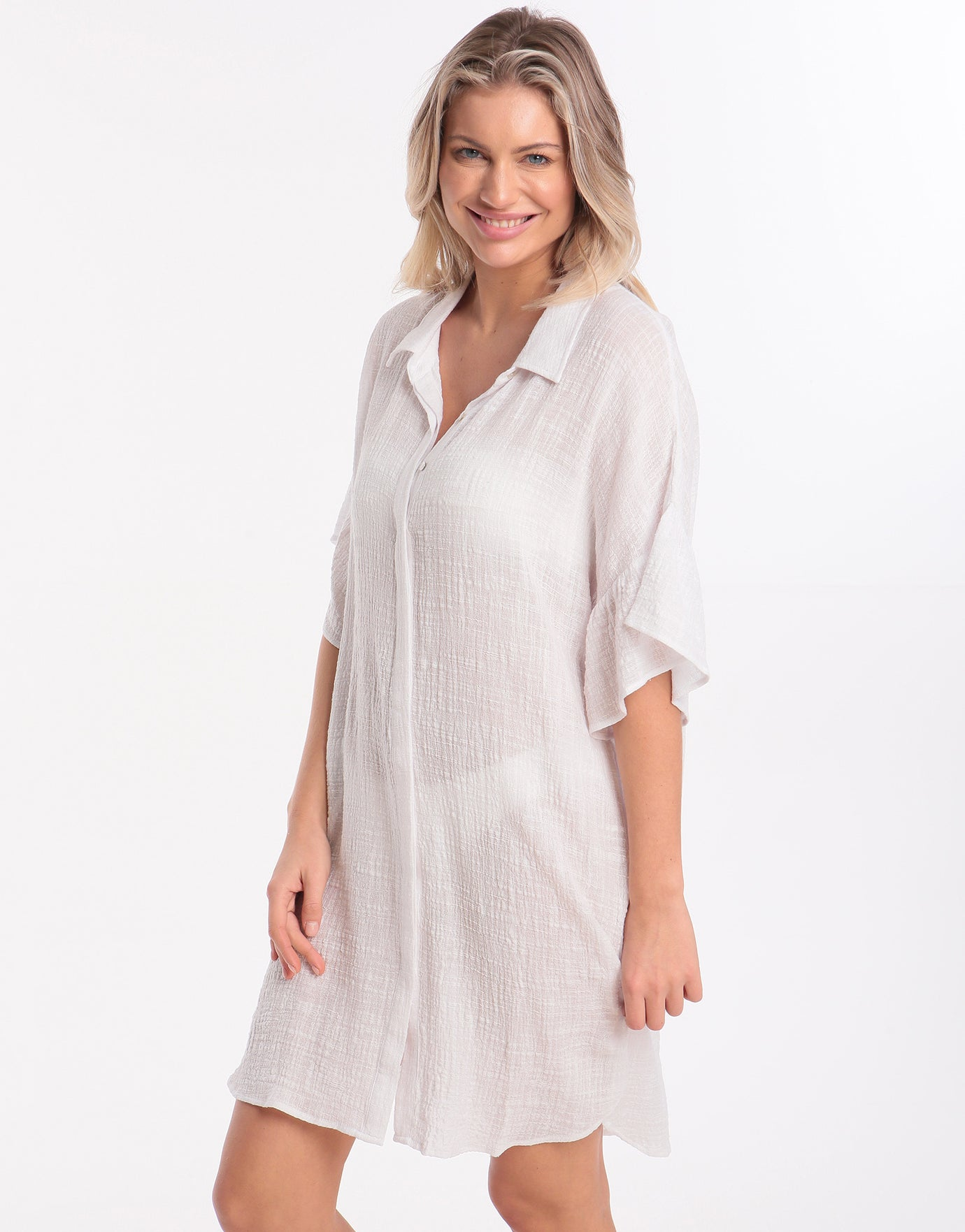 Seafolly Ruffled Sleeve Beach Shirt - White