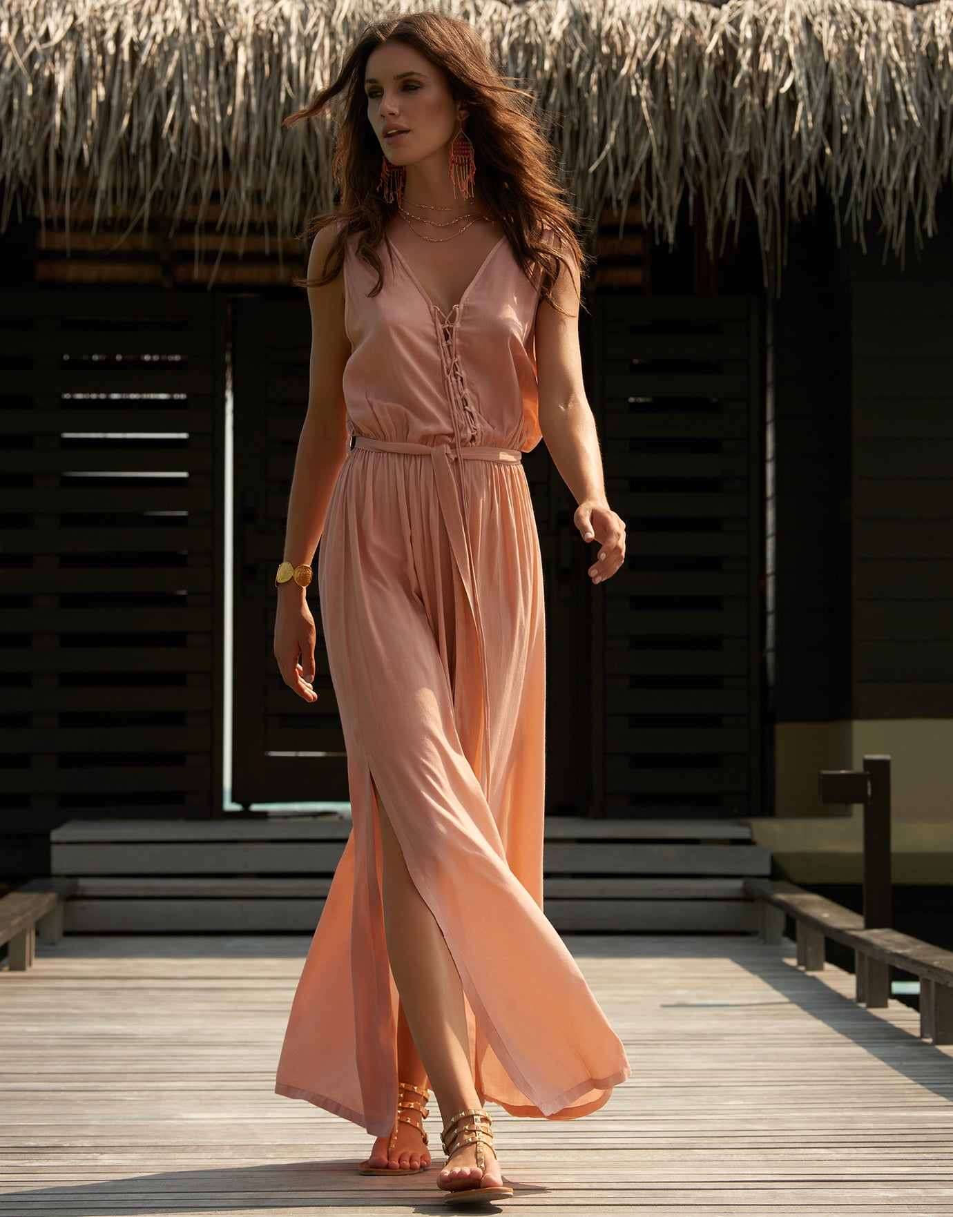 Melissa Odabash Jacqui Lace Up Low Back Maxi Dress - Tan