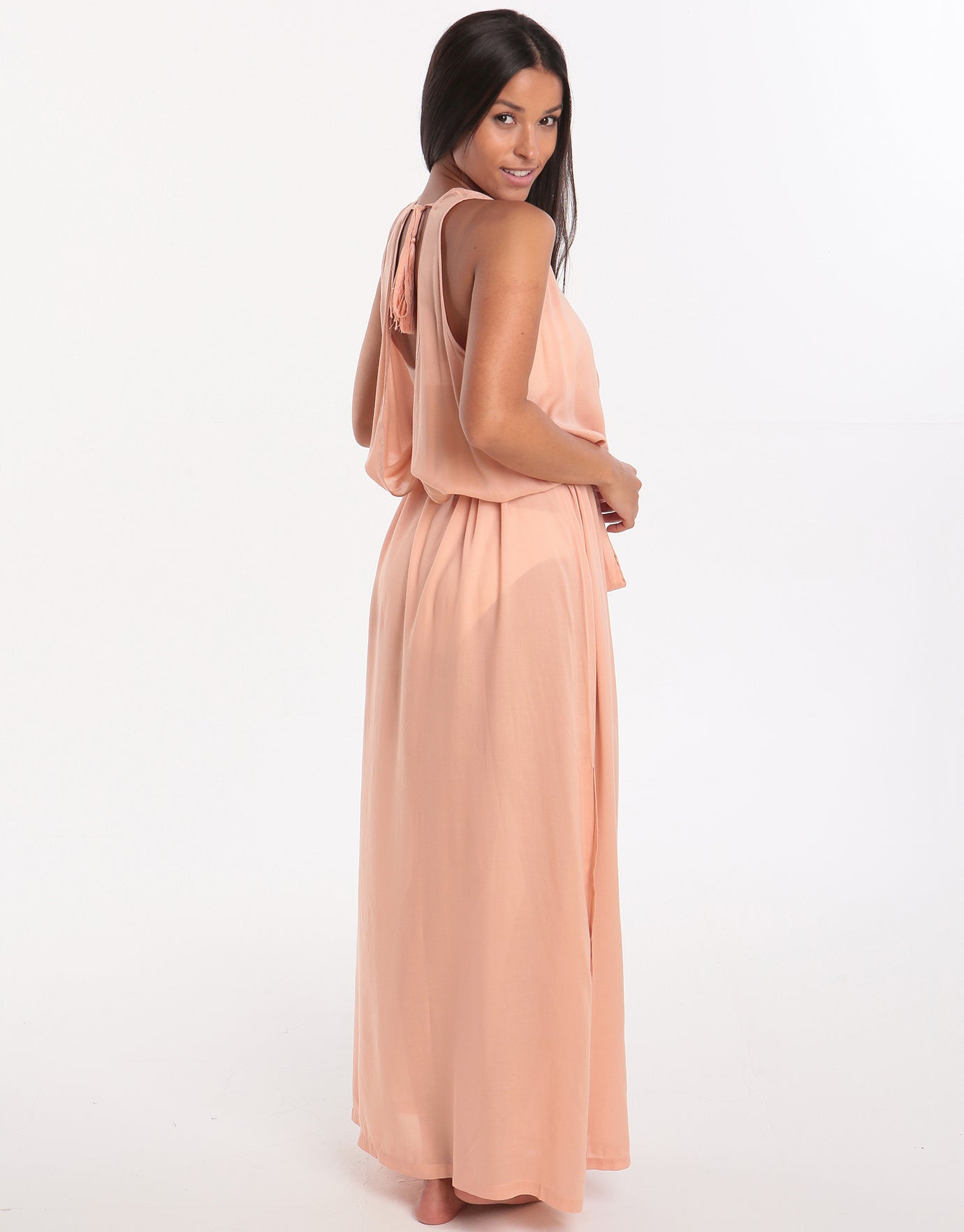Melissa Odabash Jacquie Lace Up Low Back Maxi Dress - Tan