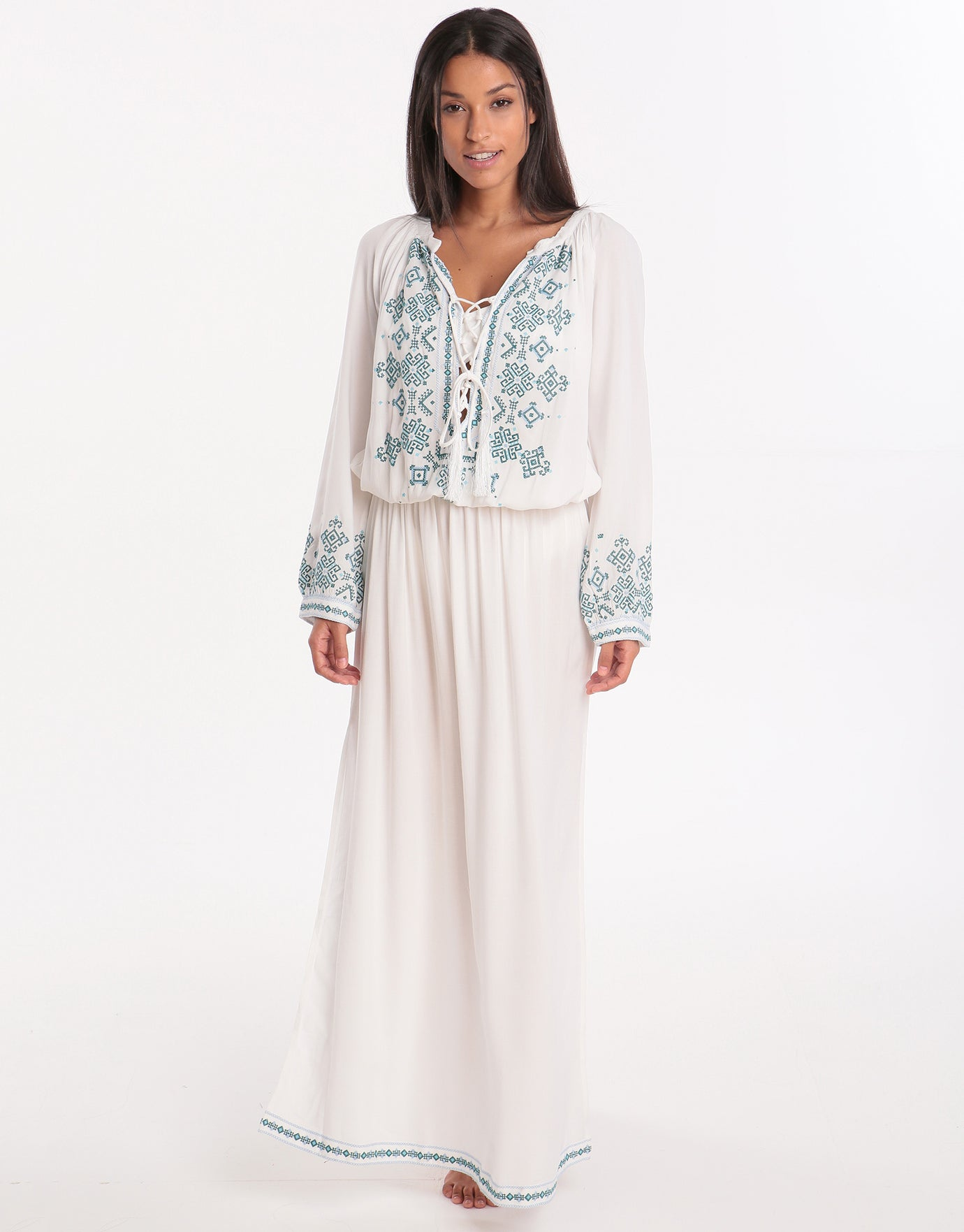 Melissa Odabash Sienna Embroidered Maxi Dress - White/Green