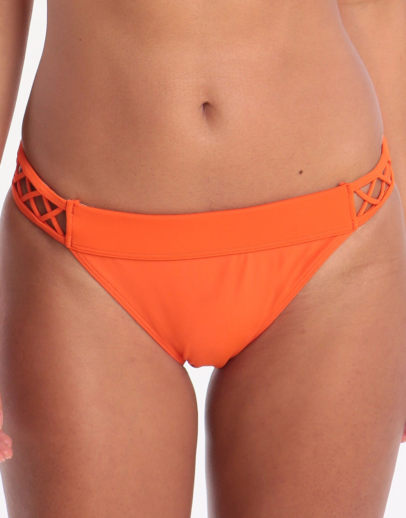 Ted Baker Faux Lattice Mesh Classic Bikini Bottom - Orange