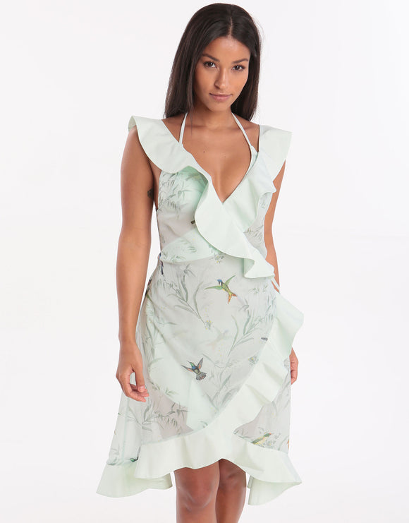Ted Baker Fortune Ruffle Wrap Dress Kaftan - Peppermint