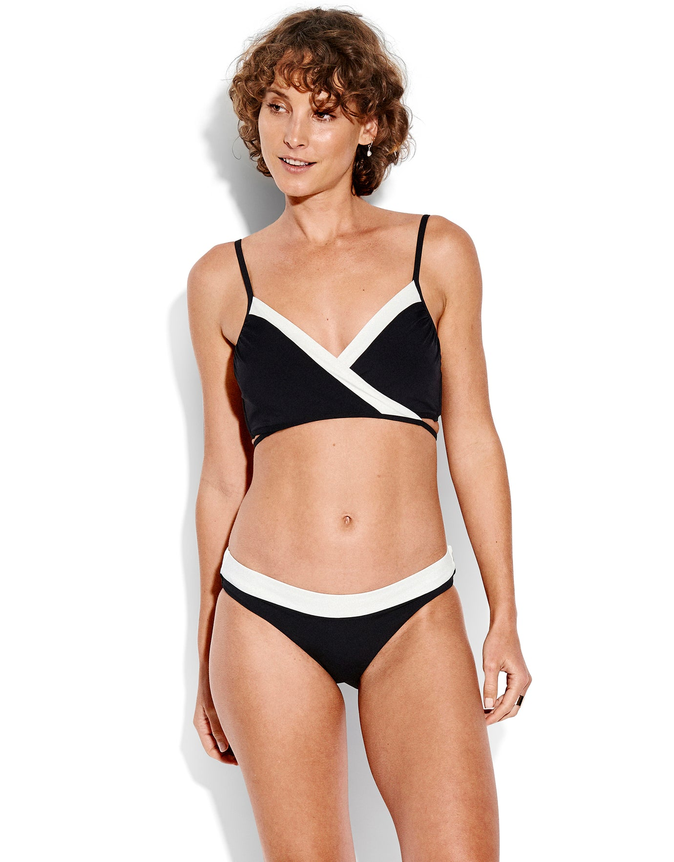 Seafolly Pop Block Wrap Front Booster - Black