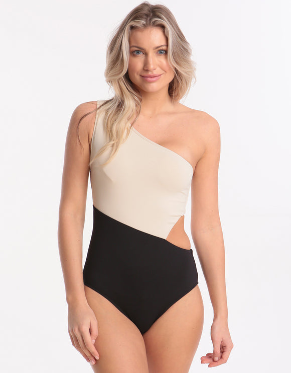Seafolly Pop Block One Shoulder Swimsuit - Black