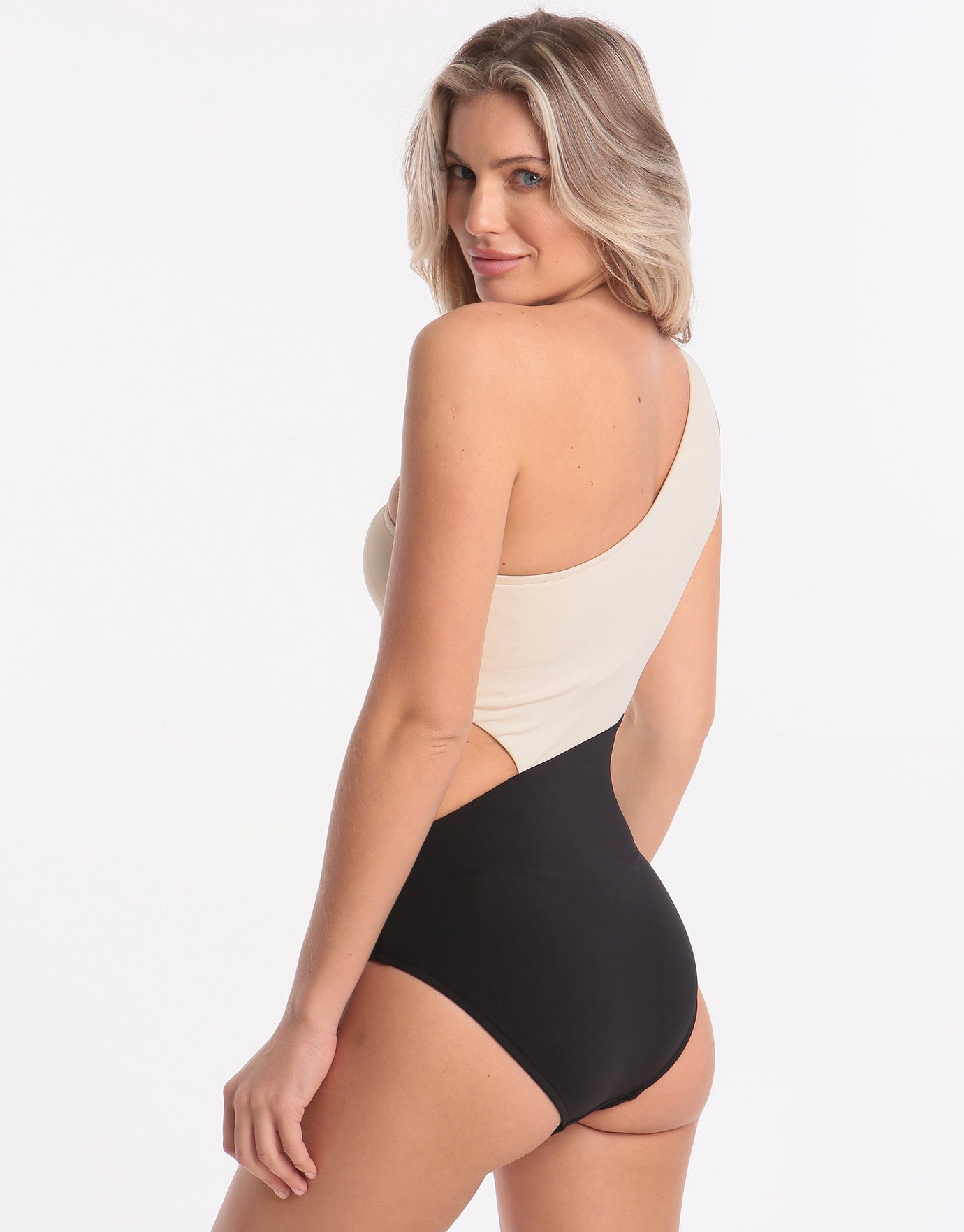 2526b6c204fd2 Seafolly Pop Block One Shoulder Swimsuit - Black | Simply Beach UK