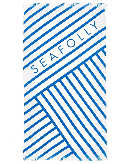 Seafolly Fringe Benefits Angled Stripe Towel - Electric Blue