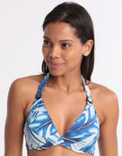 Moontide Tahiti DD/E Reversible Underwired Halter Bikini Top - Navy
