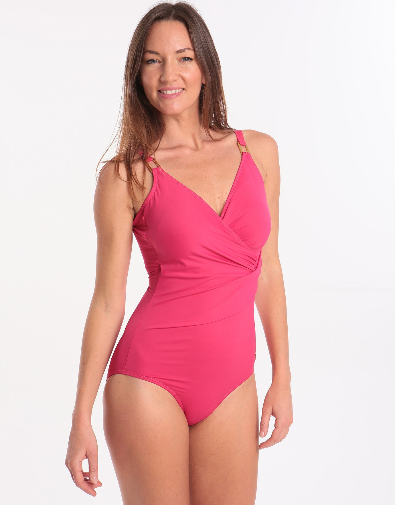 Seaspray Just Colour Long Length Draped Front Swimsuit - Raspberry