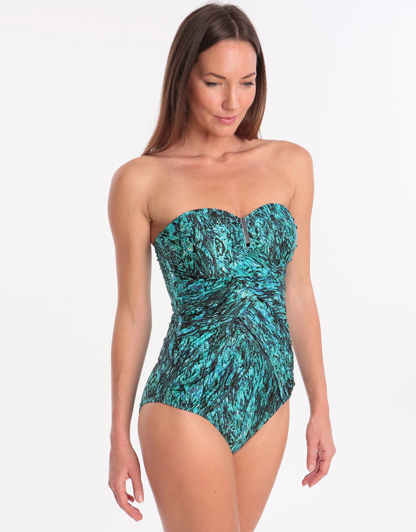 Seaspray Cascada Double Draped Bandeau Swimsuit - Aqua Water