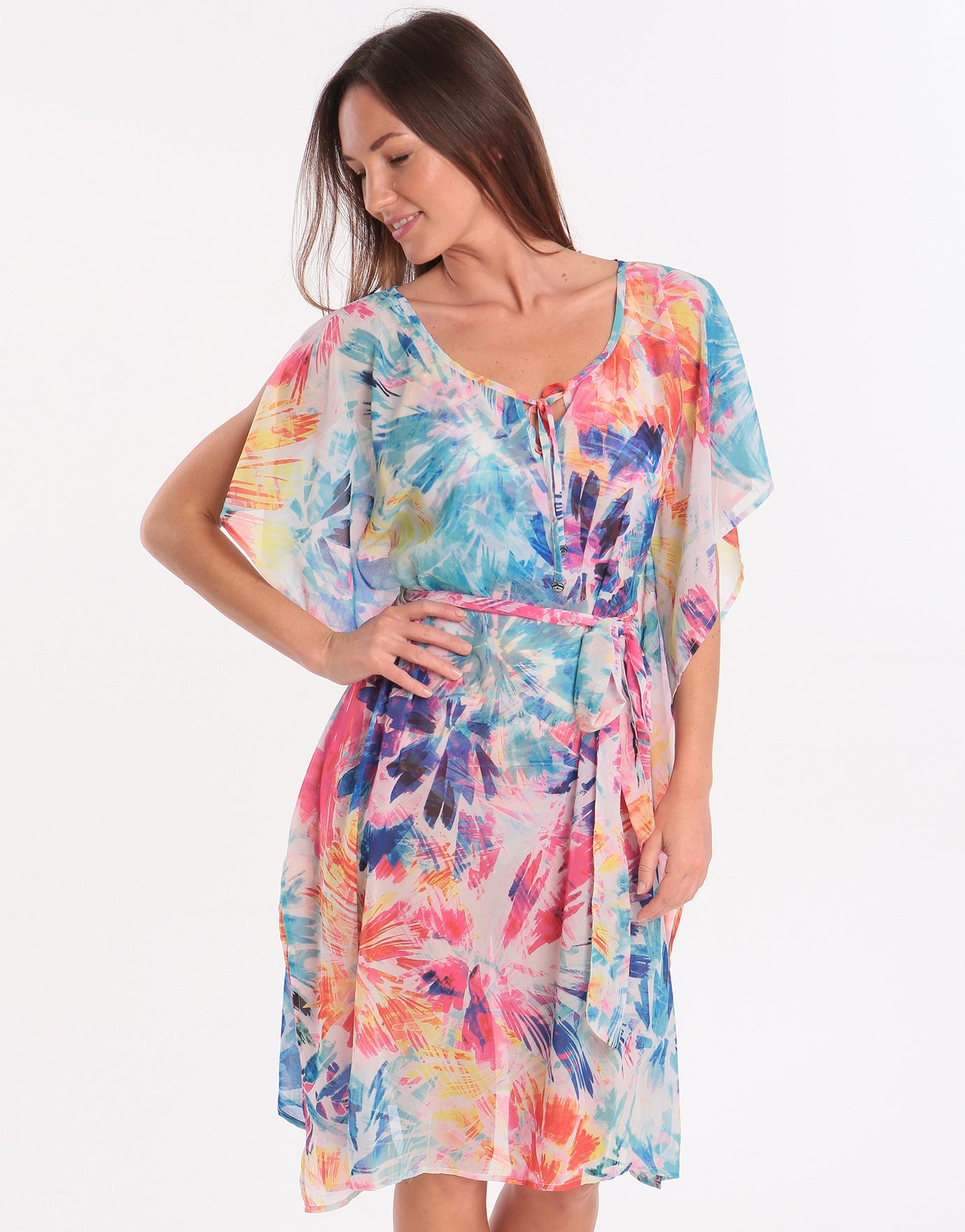 Seaspray Paradise Belted Kaftan - Multi