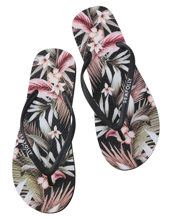 Seafolly Accessorise Me Ocean Alley Thong  Flip Flops - Black
