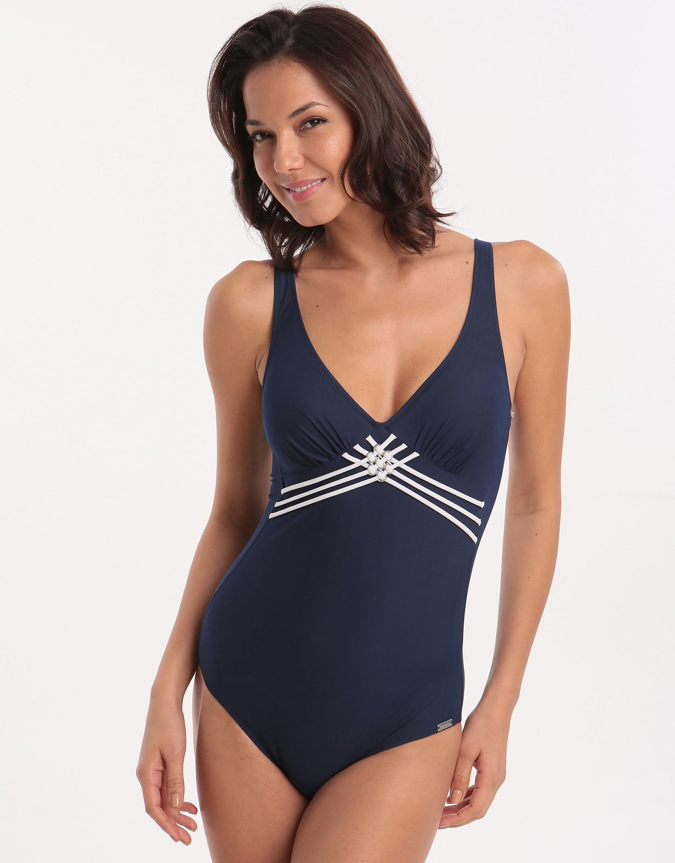 Charmline Sailing Lines Swimsuit - Navy/White