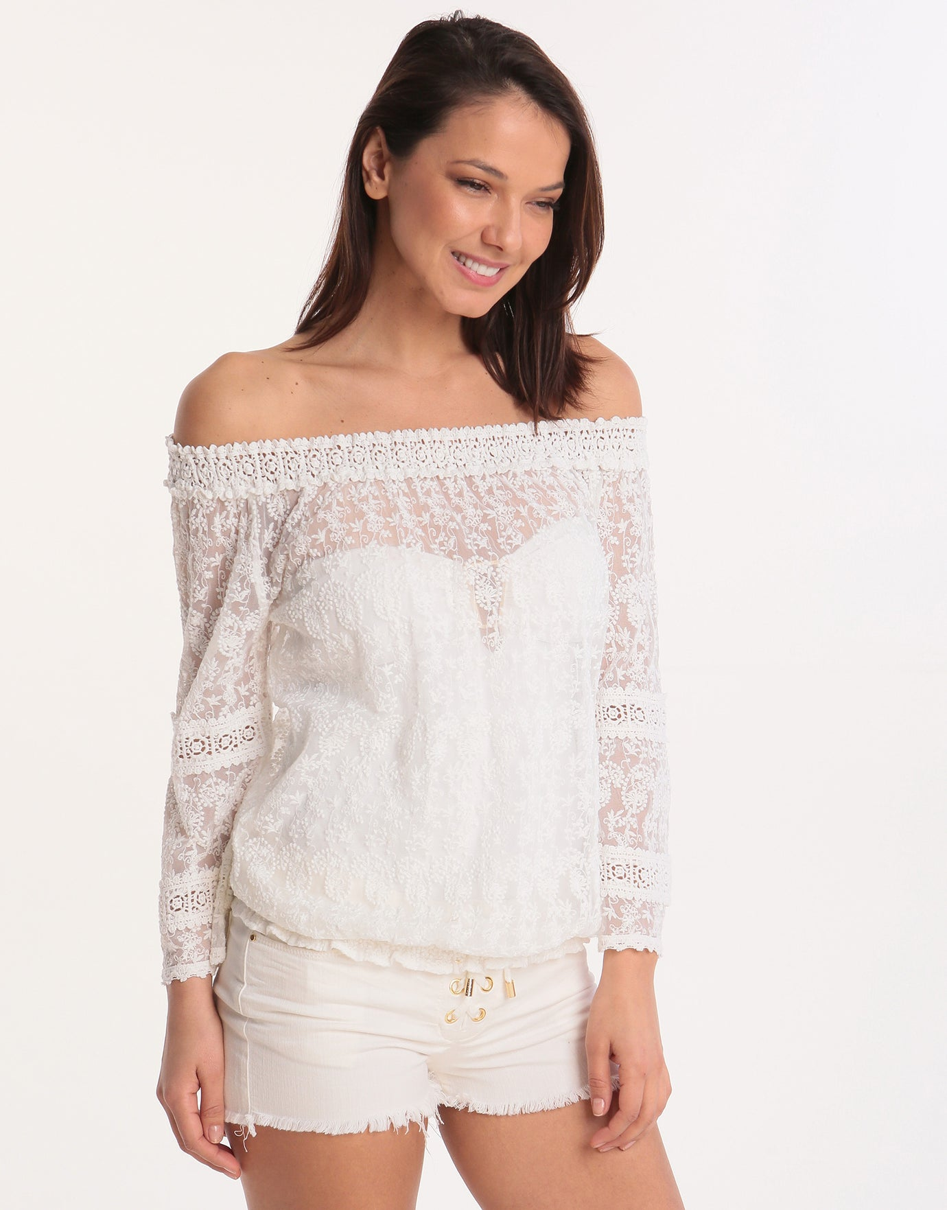 Melissa Odabash Gia Off The Shoulder Top - White Lace