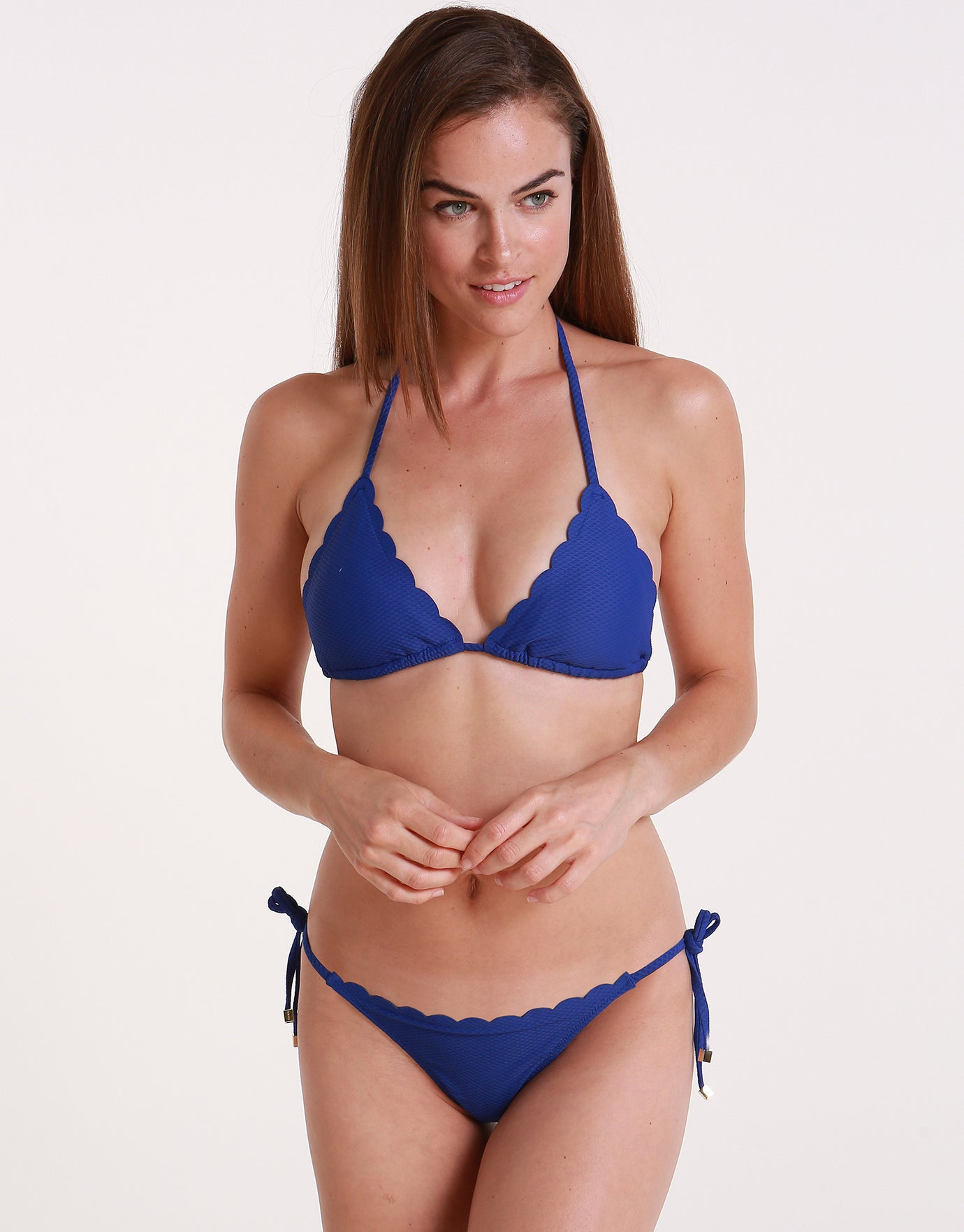 Heidi Klein Amoudi Bay Scallop Tie Side Bikini Bottom - Blue