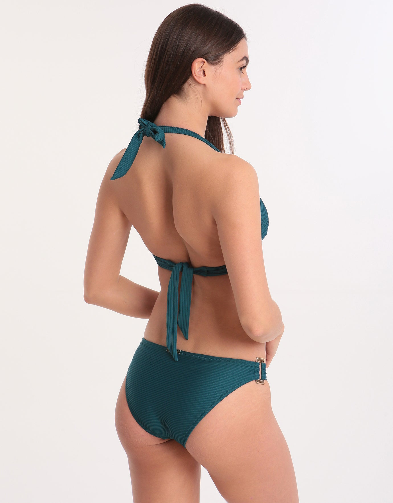 Heidi Klein Ubud Rectangle Halter Bikini Top - Teal