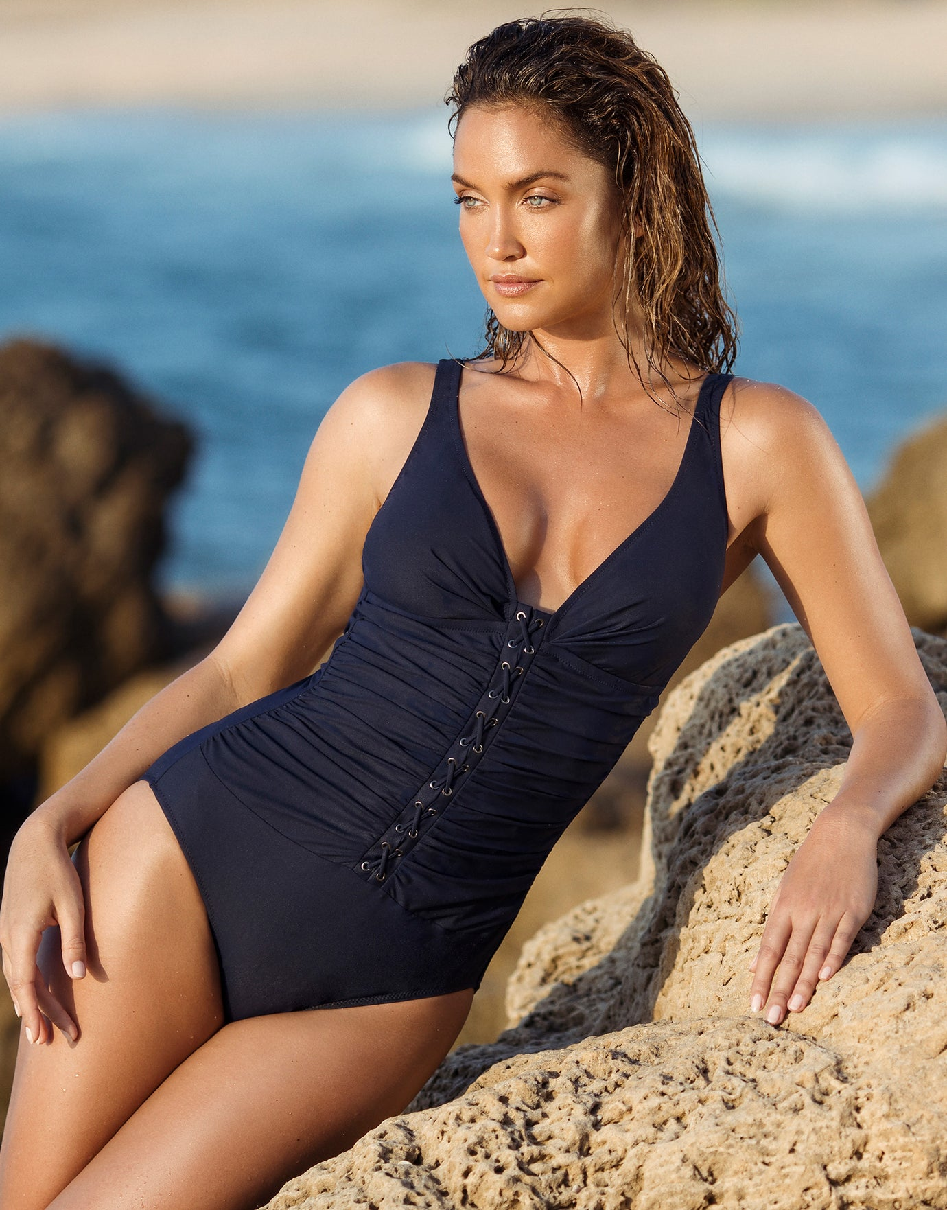 Gottex Profile Moto Lace Front V Neck Swimsuit - Navy