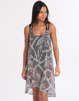 8952c815cab Gottex Profile Bamboo Mesh Dress - Black White
