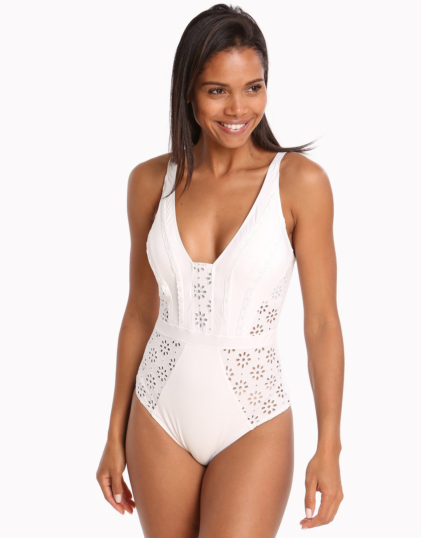 Gottex Profile Kiss and Tell D Cup V Neck Swimsuit - White