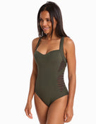 Jets Parallels Low Back Infinity Swimsuit - Khaki