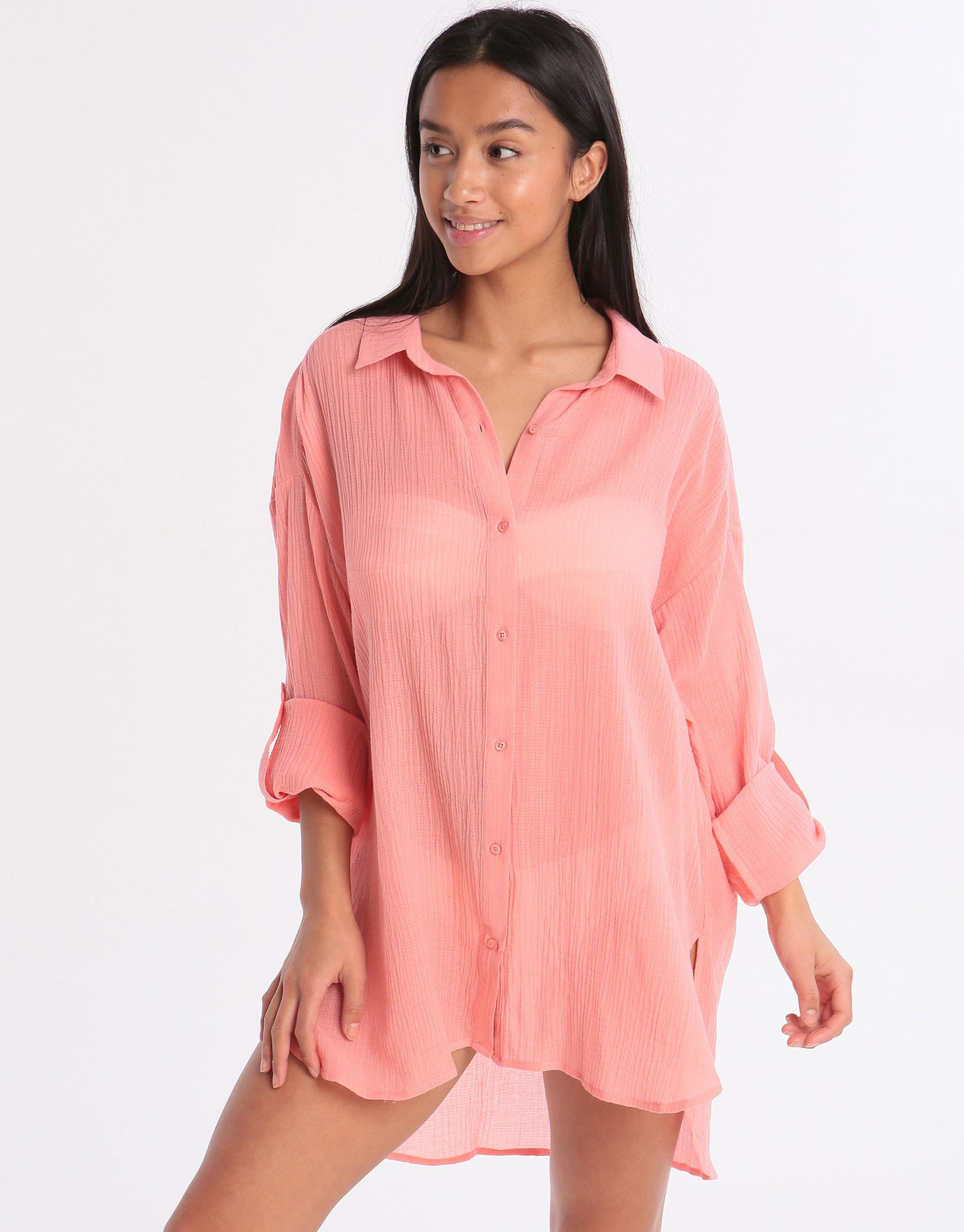 Seafolly Classic Beach Shirt - Peach