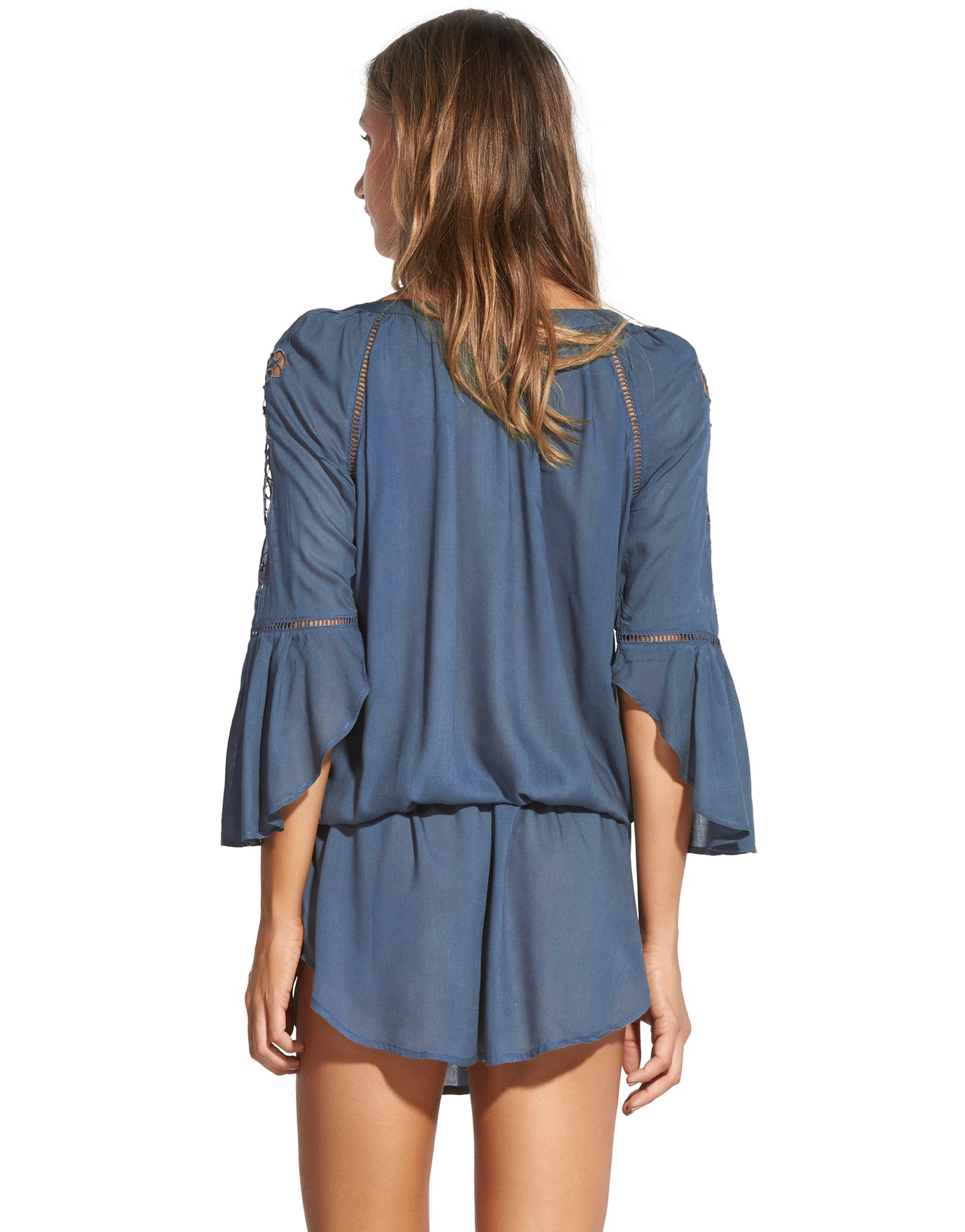 ViX Blue Grey Embroidery Chemise Tunic - Grey