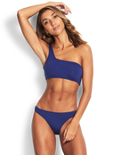 Seafolly Active One Shoulder Bandeau Bikini Top - Blue Opal